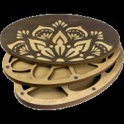 Органайзер для бисера многоярусный с крышкой Мандала круглый 2 уровня