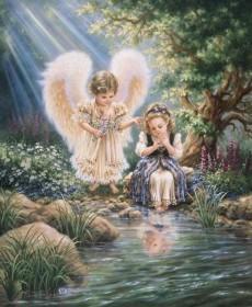 Набор для выкладки алмазной мозаикой Ангелы у ручья Алмазная мозаика DM-138 - 910.00грн.