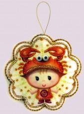 Набор для изготовления игрушки из фетра для вышивки бисером Рак Баттерфляй (Butterfly) F124