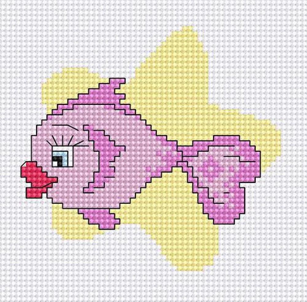 Вышивка маленькие рыбки