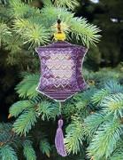 Набор для вышивки нитками Новогодняя игрушка Сиренивый фонарик