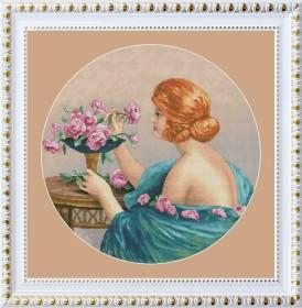 Набор для вышивки нитками Девушка с розами