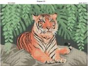 Схема вышивки бисером на габардине Тигр на скале