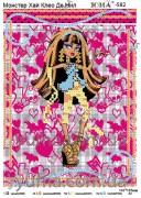 Схема вышивки бисером на атласе Монстр Хай Клео Де Нил