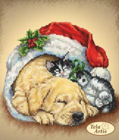 Схема вышивки бисером на атласе Сон в Рождественскую ночь, , 55.00грн., ТМ-111, Tela Artis (Тэла Артис), Собака символ 2018 года своими руками