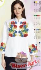 Заготовка вышиванки Женской сорочки на белом габардине Biser-Art SZ107