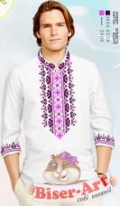 Заготовка мужской сорочки на белом льне  Biser-Art Bis15115