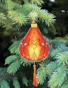 Набор для вышивки нитками Новогодняя игрушка Красный фонарик