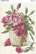 Схема для вышивки бисером на габардине Садовые розы Acorns А4-К-231