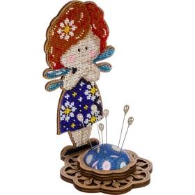 Игольница набор для вышивки бисером Ангел-девочка синяя