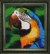 Рисунок на атласе для вышивки бисером Попугай