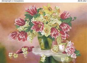 Схема для вышивки бисером на габардине Натюрморт с тюльпанами