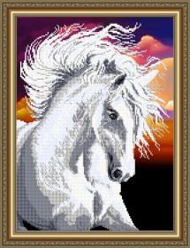 Схема вышивки бисером на авторской канве Белая лошадь, , 105.00грн., VKA3134, Art Solo, Схемы для вышивки бисером на ткани