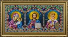 Набор для вышивки бисером Икона тройная (Спаситель, Божья Матерь Казанская, Святой Николай Чудотворец) Картины бисером Р-398