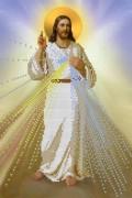 Схема для вышивки бисером на габардине Иисус, уповаю на Тебя