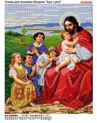 Схема вышивки бисером на габардине Ісус з дітками