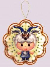 Набор для изготовления игрушки из фетра для вышивки бисером Козерог Баттерфляй (Butterfly) F130