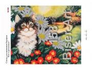 Схема вышивки бисером на габардине Котик в ромашках
