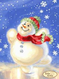 Схема вышивки бисером на атласе Счастливый снеговик, , 55.00грн., ТМ-110, Tela Artis (Тэла Артис), Новый год