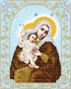 Схема для вышивки бисером на атласе Божья Матерь Покрывающая (серебро)
