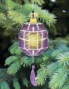 Набор для вышивки нитками Новогодняя игрушка Фиолтетовый фонарик