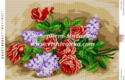 Схема для вышивки бисером на габардине Красные розы