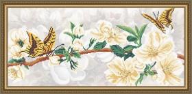 Схема вышивки бисером на габардине Яблоневый цвет