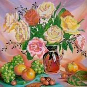 Схема для вышивки бисером на холсте Букет роз