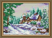 Набор для выкладки алмазной мозаикой Усадьба в зимнем лесу