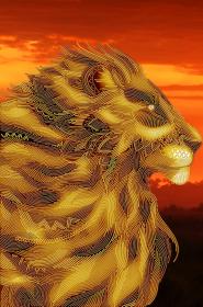 Схема  вышивки бисером на атласе Царь зверей