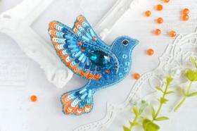 Брошь из бисера Синяя птица счастья Tela Artis (Тэла Артис) Б-025 ТА - 275.00грн.