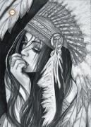 Схема для вышивки бисером на атласе Вождь Белая птица