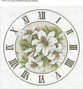 Схема для вышивки бисером на габардине Часы Романтические Лилии