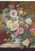 Схема для вышивки бисером на габардине Садовые цветы