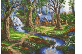 Схема вышивки бисером на атласе Лесной домик. Домик мечты