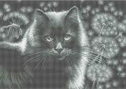 Схема вишивкі бісером на габардині Кішка у кульбабі