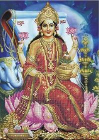 Схема вишивкі бісером на габардині Лакшмі - богиня добробуту