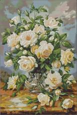 Схема для вышивки бисером на атласе Нежные розы Эдельвейс А-2-085+ атлас