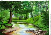 Схема вышивки бисером на атласе Лесной ручей