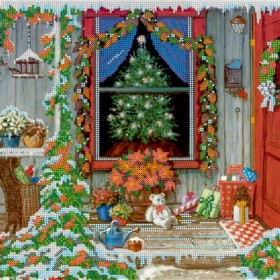 Схема для вышивки бисером на холсте Канун Рождества