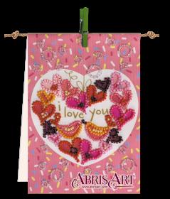 Набор-флажок для вышивки бисером на холсте Песня любви