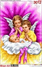 Схема вышивки бисером на габардине Ангели-охоронеці снів Biser-Art 40х60-3012