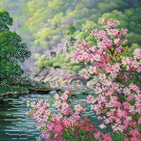 Схема вышивки бисером на холсте Цвет весны