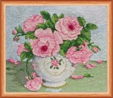 Набор для вышивки крестом Розовые цветы Абрис Арт АН-014