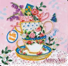 Набор-миди для вышивки бисером на натуральном художественном холсте За чашкой чая Абрис Арт АМВ-019