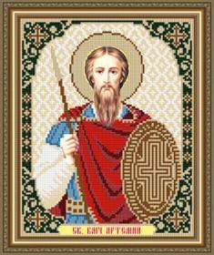 Схема вышивки бисером на габардине Св. Великомученик Артемий (Артем )