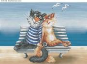 Схема для вышивки бисером на габардине Влюбленные коты