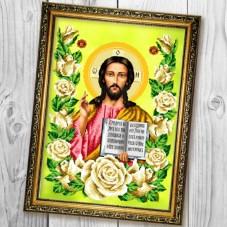 Схема вышивки бисером (нитками) на габардине Господь Вседержитель в трояндах Biser-Art 30х40-A680