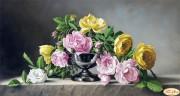 Схема вышивки бисером на атласе Розы и камень