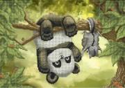 Схема вишивкі бісером на габардині Панда